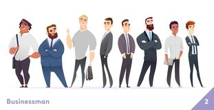 Businessman or people character design collection. Modern cartoon flat style. Young professional males poses. Businessman or people character design collection vector illustration