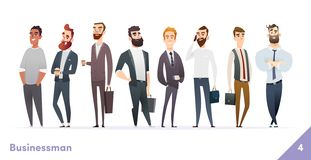 Businessman or people character design collection. Modern cartoon flat style. Young professional males poses. Businessman or people character design collection stock illustration