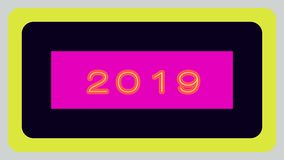 """New Year illustration design. """"2019"""" on pink purple horizontal rectangle-shaped design on black backround which has yellow large outline.All this shape stock illustration"""