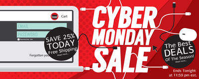 8000x3200 Pixel Cyber Monday Banner. Vector Illustration Stock Illustration