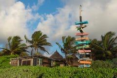 & x22;Playa esperanza& x22; in Tulum. Directions and beach landscape Stock Photos