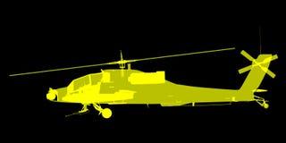 X- promień lub Xray wizerunek Apache helikopter Zdjęcie Stock