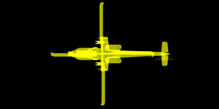 X- promień lub Xray wizerunek Apache helikopter Fotografia Royalty Free