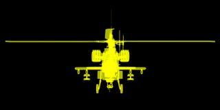 X- promień lub Xray wizerunek Apache helikopter Obraz Stock