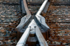 X Rail. A close-up picture of a rail road intersection Royalty Free Stock Images