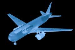 X ray airplane on black background Stock Photo