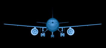 X ray airplane on black background Royalty Free Stock Photo