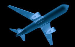 X ray airplane on black background Stock Photography