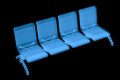 X ray airport seats. 3d rendering x ray airport seats isolated on black Stock Photo