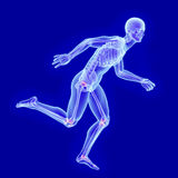 X-ray anatomy of a running man with visible joint damage Stock Images