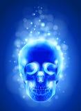 X-ray, blauwe achtergrond van de schedel & lichten Stock Afbeeldingen