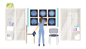 X ray cabinet. X ray cabinet in the clininc. Doctor examines the scans Royalty Free Stock Photos
