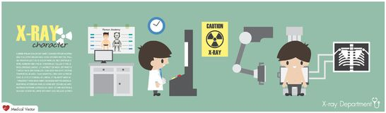 X-ray Department . Radiological technologist is imaging at chest of patient . Vector . Flat design.  Royalty Free Stock Photos