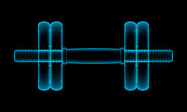 X-ray of dumbbell. Three-dimensional illustration of x-ray blue dumbbell on black background Stock Photo