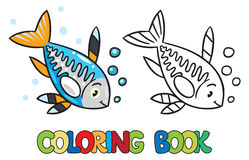 X-ray fish coloring book. Coloring picture or coloring book of funny little x-ray fish Stock Photos