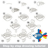 X-ray fish. Drawing tutorial. Stock Image
