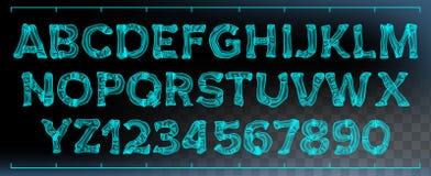 X-ray Font Vector. Transparent Roentgen Decorative Alphabet. Radiology Neon Scan Effect. Blue Bone. Futuristic Medical. X-ray Font Vector. Transparent Roentgen vector illustration