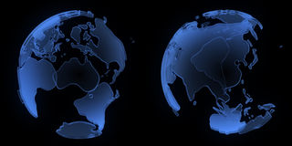 X ray globe, Asia and Australia Royalty Free Stock Photography