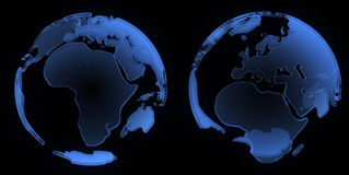 X ray globe, Europe and Africa Stock Photography