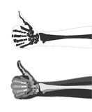 X-ray hand. Hand finger up done in the style of X-rays with the image of the bones. Vector Image. All elements on layers Royalty Free Stock Photography