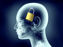 x-ray image human head with padlock inside Royalty Free Stock Image