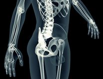 X-ray image of a man isolated on black Royalty Free Stock Image