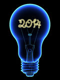 X-Ray lightbulb with sparkling 2014 digits inside. Isolated on black. High resolution 3D image Stock Photo