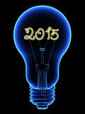 X-Ray lightbulb with sparkling 2015 digits inside. Isolated on black. High resolution 3D image Stock Image