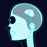 X-ray picture human head with small brain vector Stock Photo