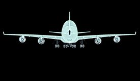 X-ray plane isolated on a black background Royalty Free Stock Photos