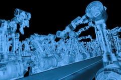 X ray robotic arm with conveyor line. 3d rendering x ray robotic arm with conveyor line isolated on black Stock Photo