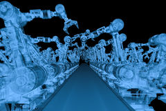X ray robotic arm with conveyor line. 3d rendering x ray robotic arm with conveyor line isolated on black Stock Image