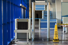 X-ray scanner and metal detector. At harbor security point royalty free stock photography