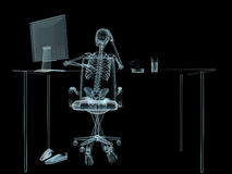 X-ray sceleton. Humorous x-ray image of the office manager Stock Photos