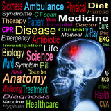 X-ray skull and Stroke and Medical word cloud Stock Images