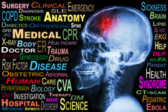 X-ray skull and Stroke and Medical word cloud Stock Photos