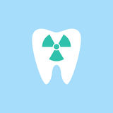 X-ray tooth flat icon. Dental and medicine, radiation sign vector graphics, a colorful solid pattern on a blue background, eps 10 Stock Photo