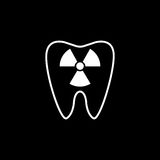 X-ray tooth line icon. Dental and medicine, radiation sign vector graphics, a linear pattern on a black background, eps 10 Royalty Free Illustration