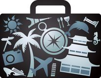 X-rayed tourist suitcase Stock Photo