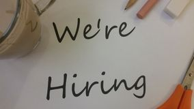 Were Hiring designed ad. We`re hiring ad for recruiting workers royalty free stock image