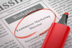 We're Hiring Ecommerce Marketing Director. 3D. Newspaper with Small Ads of Job Search Ecommerce Marketing Director. Blurred Image with Selective focus. Concept Royalty Free Stock Image