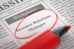 We're Hiring Investor Relations Manager. 3D. Stock Photo