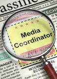We're Hiring Media Coordinator. 3D. Stock Image