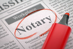We're Hiring Notary. 3D. Notary - Jobs Section Vacancy in Newspaper, Circled with a Red Highlighter. Blurred Image. Selective focus. Hiring Concept. 3D Render Royalty Free Stock Photo