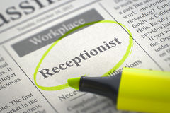We're Hiring Receptionist. 3D. Royalty Free Stock Photo