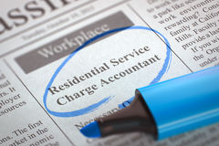 We're Hiring Residential Service Charge Accountant. 3D. Royalty Free Stock Photos