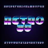 80& x27; retro fonte di alfabeto di s Lettere e numeri metallici di effetto Fotografia Stock Libera da Diritti