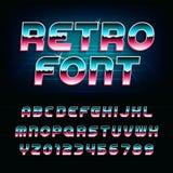 80& x27; retro fonte di alfabeto di s Lettere oblique brillanti e numeri di effetto metallico Fotografie Stock Libere da Diritti