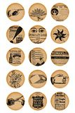 4x6 rounds circles vintage round old images. Floral flowers hand eyes paper papers royalty free illustration