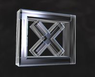X símbolo verific da caixa no vidro Fotos de Stock Royalty Free